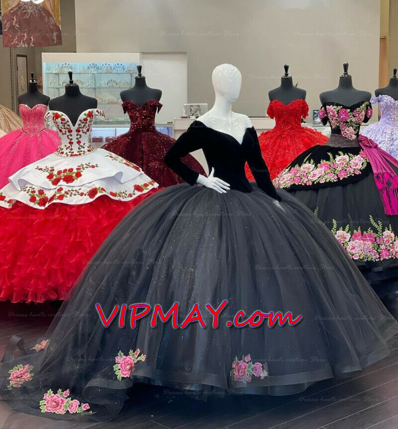 long sleeves quinceanera dress,black quincenanera dress,black charro quinceanera dress,velvet quinceanera dress,embroidery quinceanera dress,dress with flower appliques,v neckline quinceanera dress with sleeves,custom design quinceanera dress,