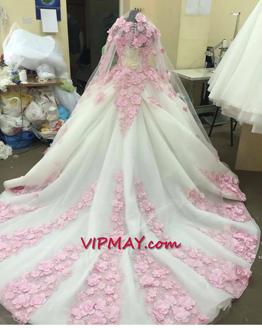 custom design quinceanera dress,long sleeves illusion quinceanera dress,pretty quinceanera dress long sleeve,white and pink quinceanera dress,quinceanera dress with 3d flowers,sheer neckline quinceanera dress,quinceanera dress with long trains,princess quinceanera dresses,