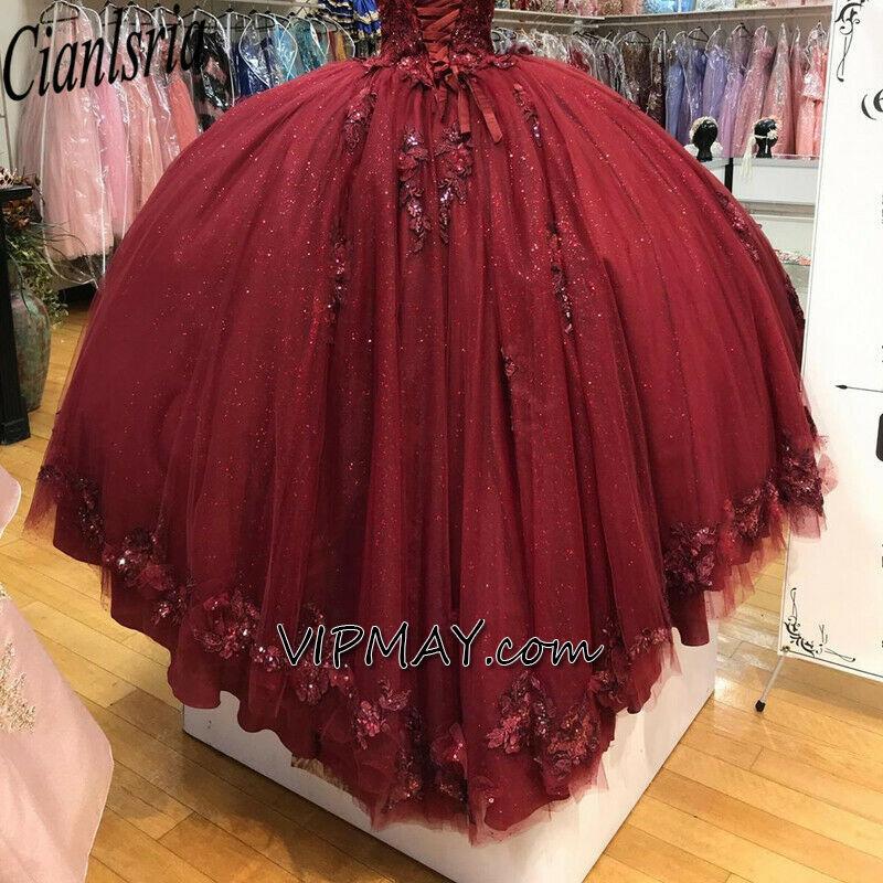 sparkly quinceanera dress,burgundy quinceanera dress,quinceanera dress with 3d flowers,quinceanera dress with short train,glitter tulle quinceanera dress,quince dress with straps,lace back up quinceanera dress,