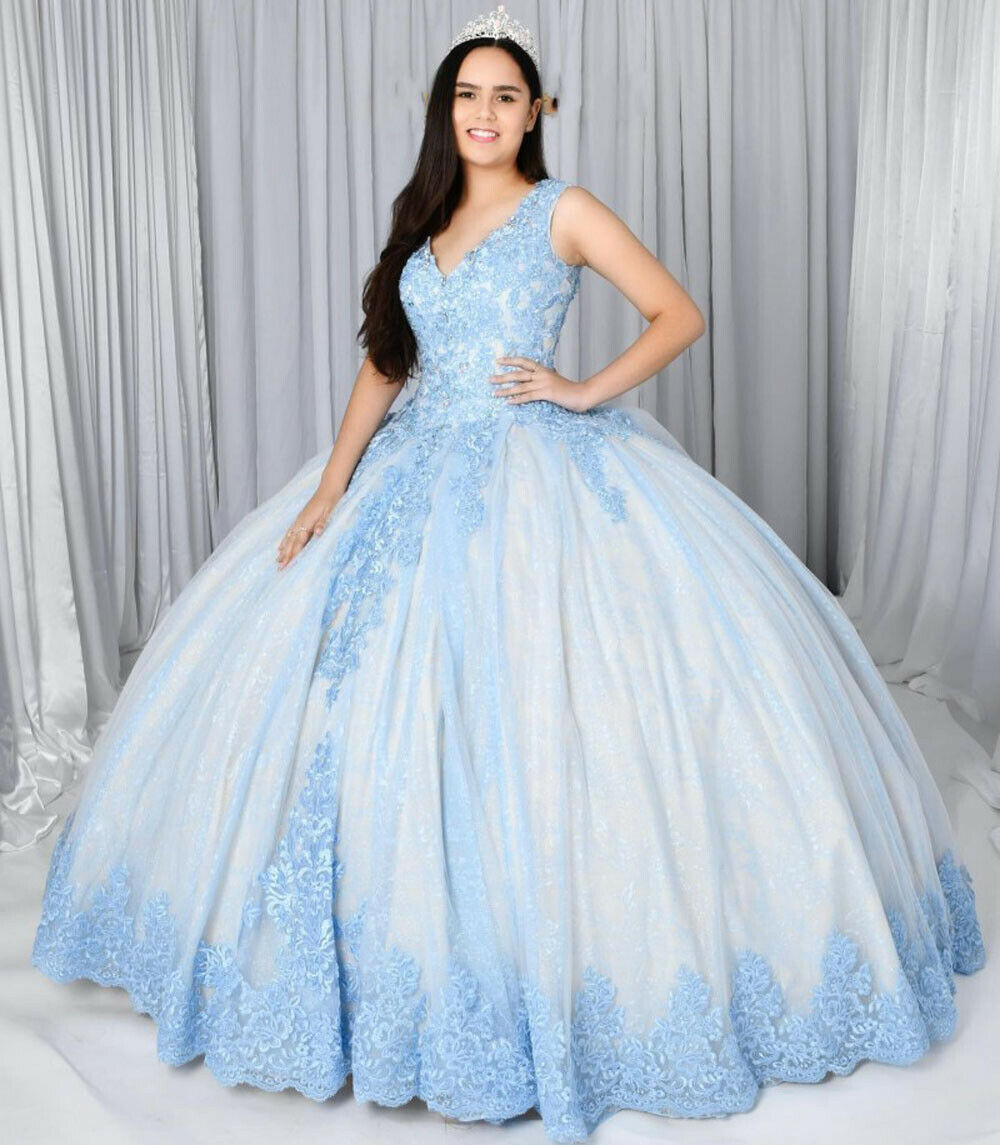 light blue quinceanera dress,baby blue quinceanera dress,deep v neckline quinceanera dress,quinceanera dress with applique,quinceanera dress without train,8th grade formal dress with straps,quince dress with straps,