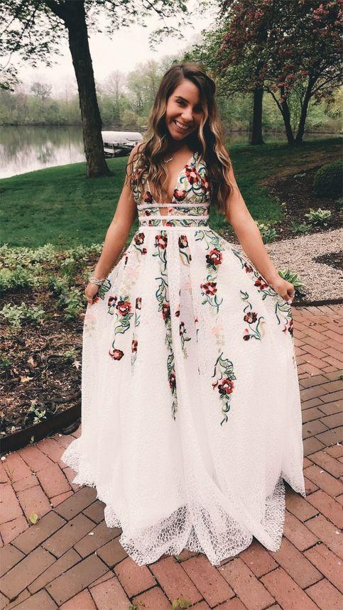 cheap white lace prom dress,white prom dress with lace,sexy prom dress,floral special occasion prom dress,floral applique prom dress,backless prom open back dress,criss cross back prom dress,prom dress with deep v neck,cut out backs prom dress,long prom dress with straps,cheap long lace prom dress,sexy lace party dress,embroidery sweet 16 dress,