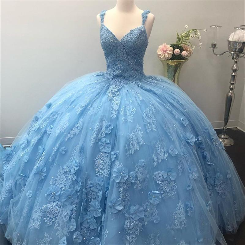 baby blue quinceanera dress,quinceanera dress with applique,quinceanera dress with 3d flowers,pretty puffy quinceanera dress,sky blue quinceanera dress,vestidos de quinceaneras,