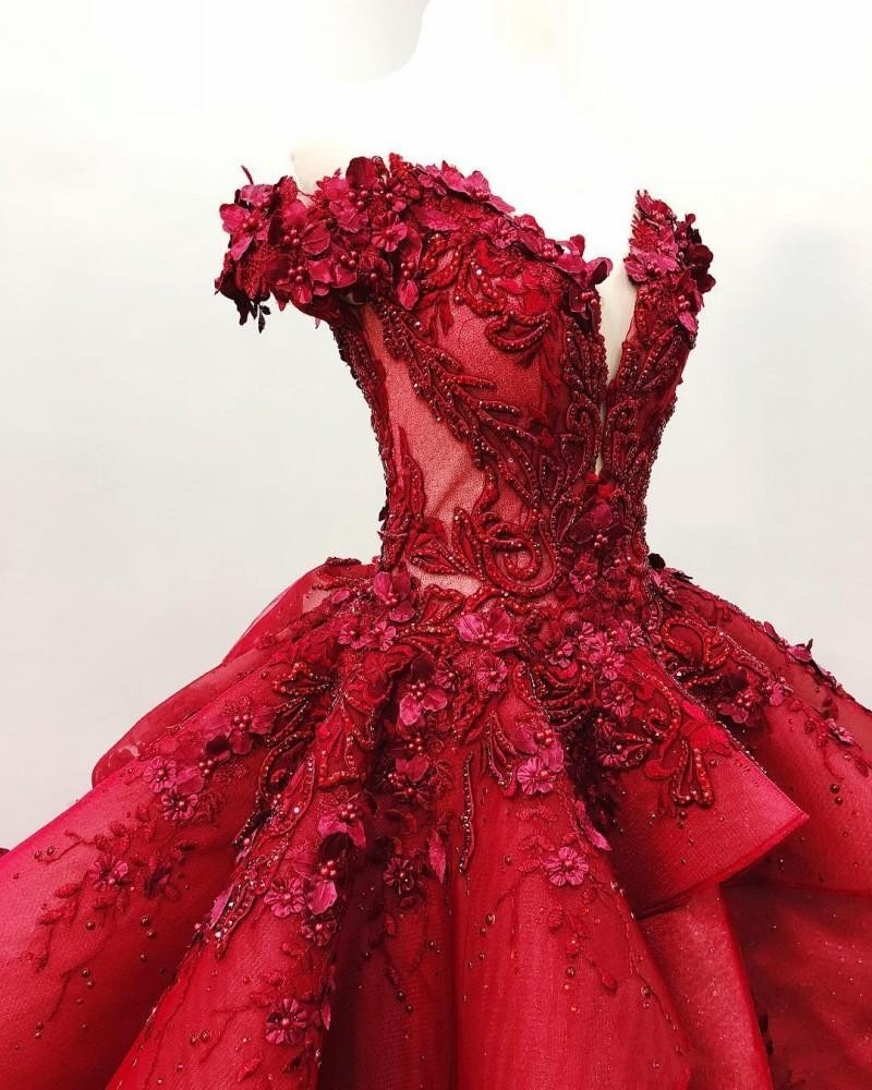 quinceanera dress with long train,burgundy quinceanera dress,sheer neckline quinceanera dress,off shoulder quinceanera dress,quinceanera dress with 3d flowers,see through bodice quinceanera dress,deep v neckline quinceanera dress,