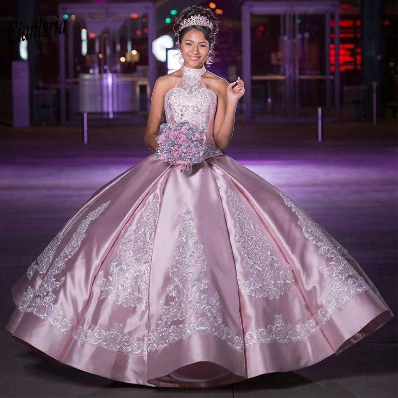 quinceanera dress with applique,pink and silver quinceanera dress,quinceanera dress princess theme,princess ball gown quinceanera dress,satin quinceanera dress,pink ball gown quinceanera dress,quinceanera dress with halter neckline,2021 quinceanera dress,quinceanera dress lace puffy elegant,
