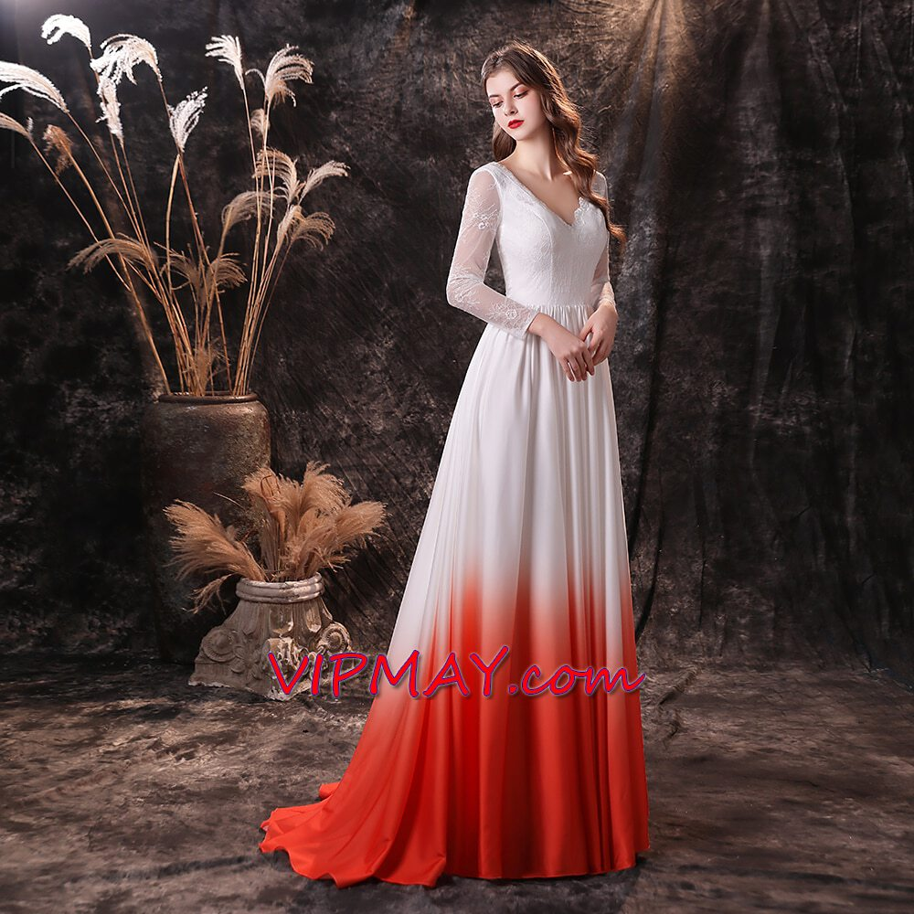 ombre prom dress plus size,white prom dress long sleeves,long flowing prom dress with sleeves,long sleeve prom dress with train,long prom dress with long sleeves,v back prom dress,prom dress with train,red and white long prom dress,red and white prom dress,custom fitted prom dress,custom made prom dress cheap,