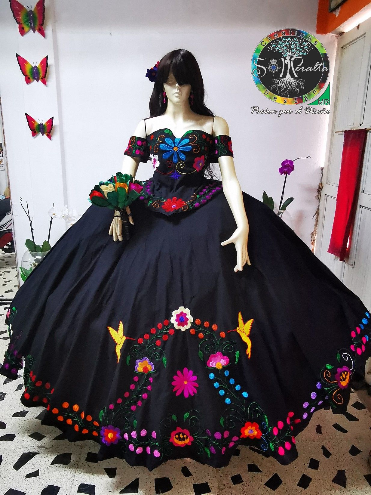 black charro quinceanera dress,one of a kind quinceanera dress,charro y china poblana quinceanera dress,floral embroidery quinceanera dress,the most expensive quinceanera dress,xv quinceanera dress,short sleeves quinceanera dress,quinceanera dress charro style,otomi quinceanera dress,
