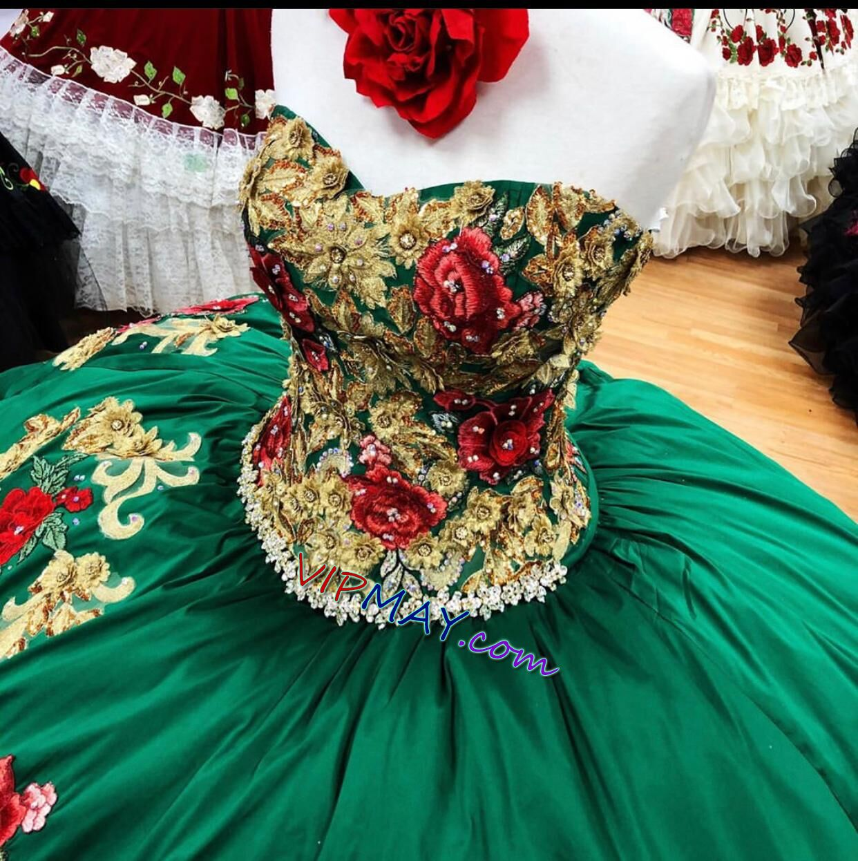 quinceanera dress with a train,virgin mary quinceanera dress,2021 quinceanera dress,virgen de guadalupe quinceanera dress,virgin mary charo quinceanera dress,satin quinceanera dress,floral embroidered quinceanera dress,green and gold quinceanera dress,green quinceanera dress,traditional mexican quinceanera dress,mexican themed quinceanera dress,
