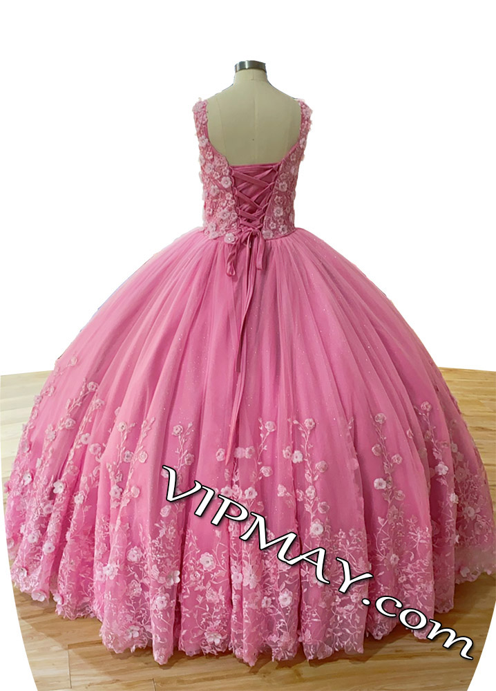 ready to ship quinceanera dresses,tulle skirt quinceanera dress,tulle sweet 16 dress,v neckline quinceanera dress,big pink quinceanera dress,rose pink quinceanera dress,vintage lace quinceanera dress,lace quinceanera dress,quinceanera dress with 3d flowers,2021 quinceanera dress,handmade flower quinceanera dress,modest quinceanera dress with straps,