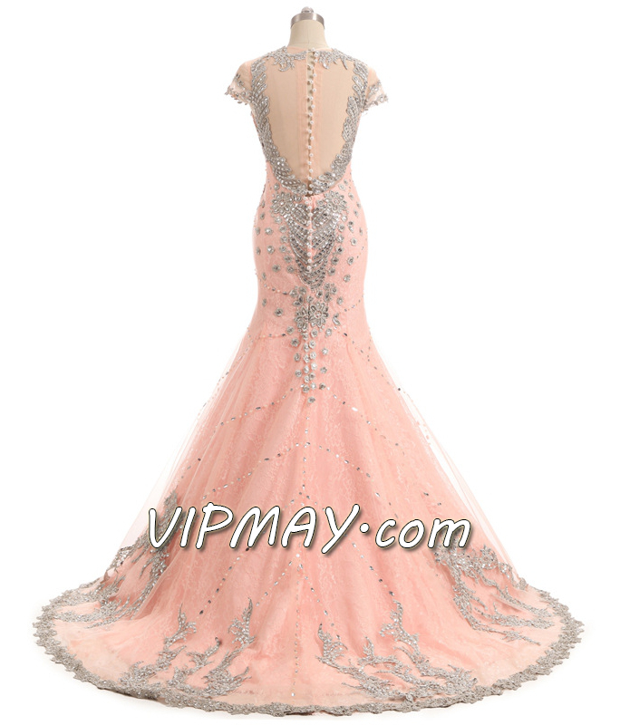 blush pink mermaid prom dress,long blush pink beaded prom dress,cheap mermaid style prom dress,long fitted mermaid prom dress,mermaid prom dress with train,sheer back prom dress,mermaid prom dress with rhinestones,deep v neckline prom dress,prom dress with deep v neck,mermaid prom dress with long train,illusion prom dress with train,