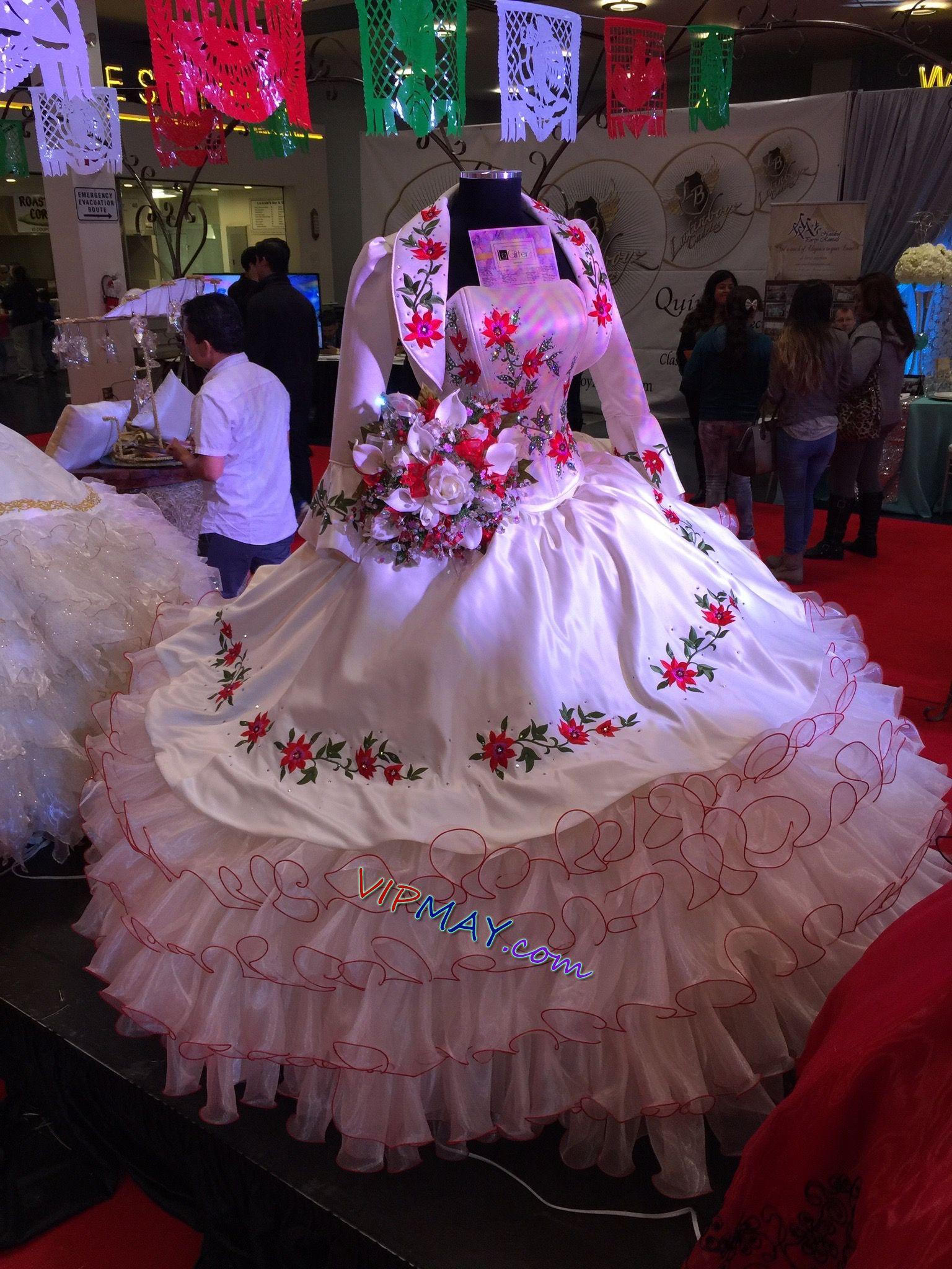 charro quinceanera dress for sale,ruffled charro quinceanera dress,white and red quinceanera dress,white quinceanera dress,quinceanera dress with long sleeves,bolero jacket quinceanera dress,quinceanera dress with jacket,floral embroidery quinceanera dress,