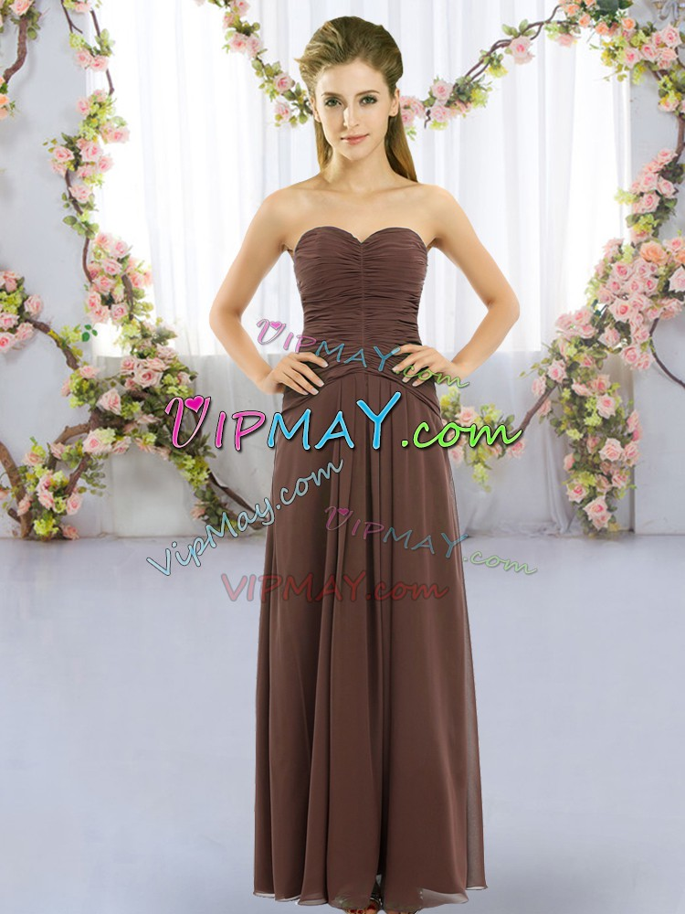 Dazzling Floor Length Empire Sleeveless Brown Bridesmaid Gown Lace Up