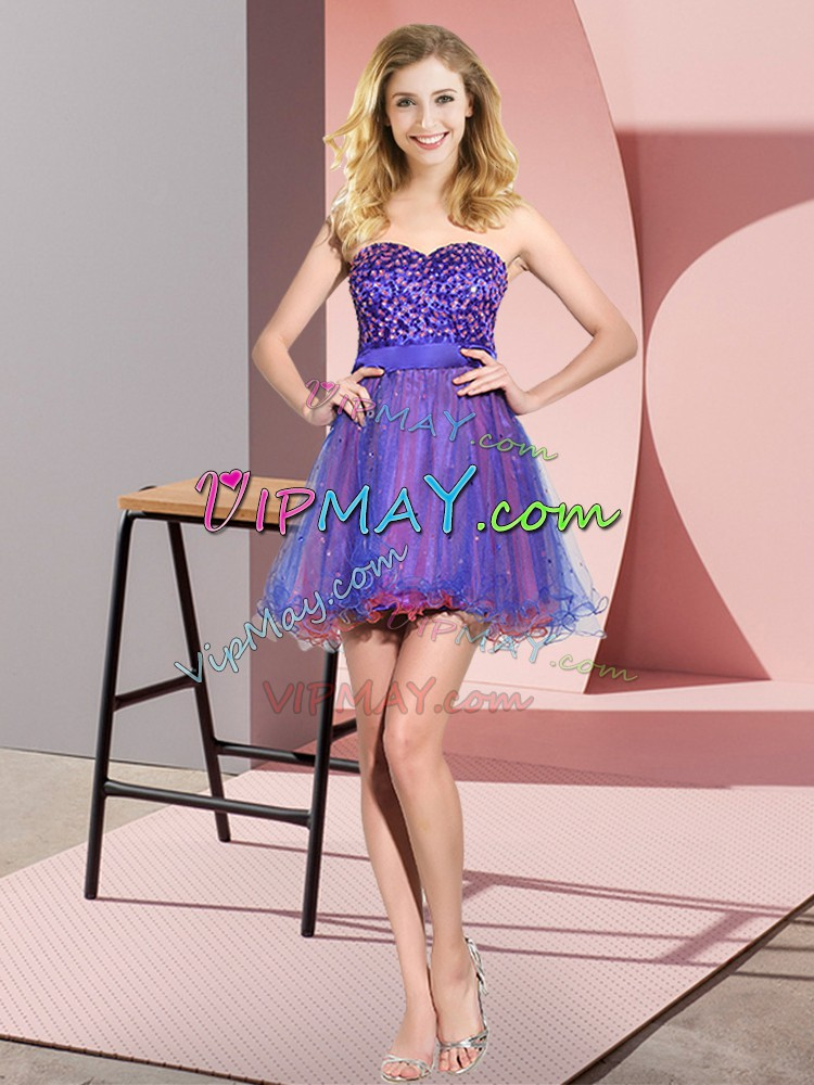 Sleeveless Sweetheart Beading and Sequins Lace Up Bridesmaid Gown
