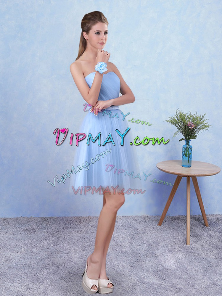Tulle Sweetheart Sleeveless Lace Up Ruching Wedding Party Dress in Blue