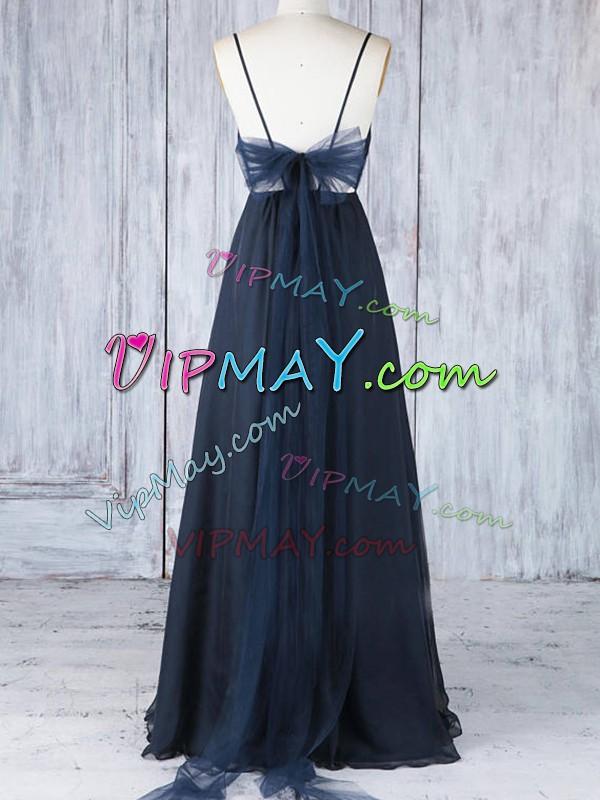 Adorable Navy Blue Sleeveless Floor Length Ruching Backless Bridesmaid Dress Spaghetti Straps