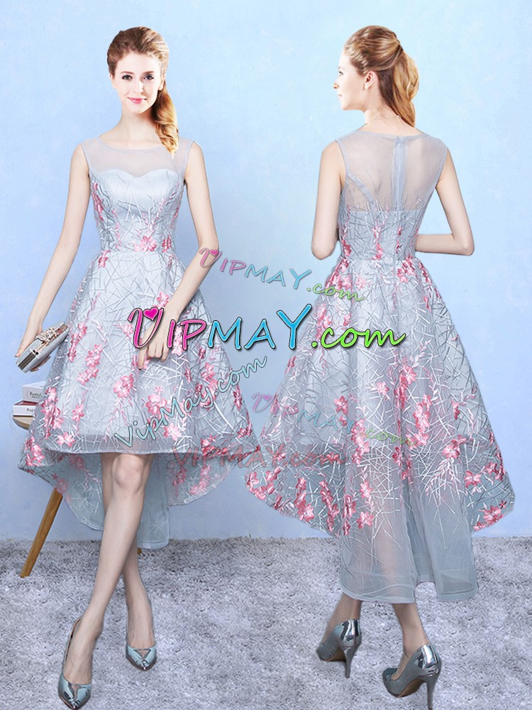 Multi-color Organza Zipper Wedding Guest Dresses Sleeveless High Low Embroidery