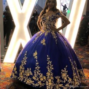 Royal Blue Gold 3D Floral Lace Appliqued Quinceanera Dress