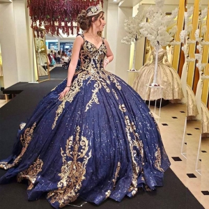 Navy Blue Sequined Appliques Quinceanera Dress V Neck Gold Sequin Sweet 15 Dress