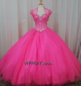 Pink Tulle with Beading XV Sweet 16 Quinceanera Dress with Jacket