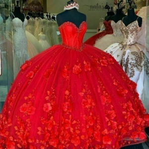 Red 3D Flower Quinceanera Dress Ball Gown Princess Corset Tulle Sparkly Sweet 16