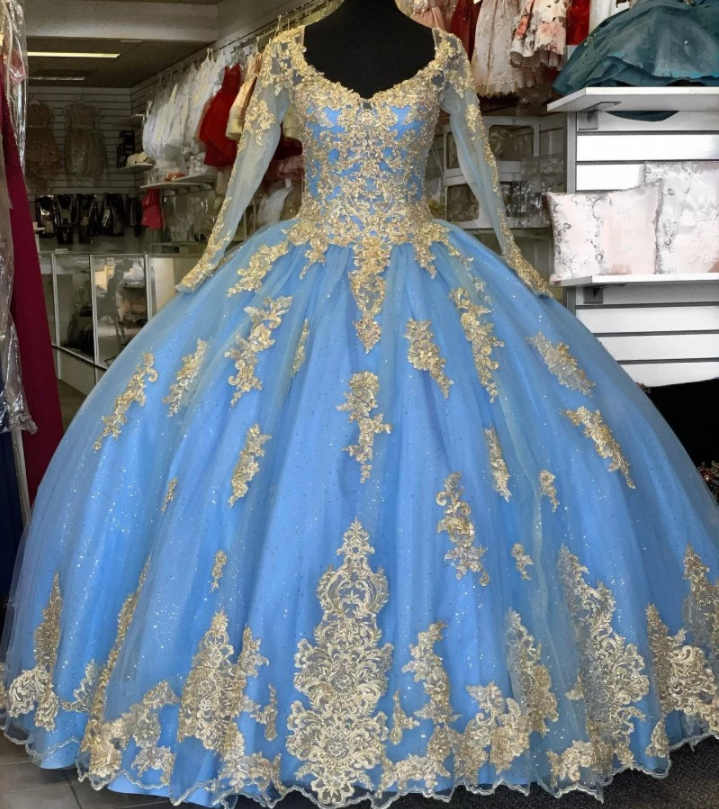 Perfect Sky Blue Quinceanera Dress Long Sleeves Sweet 16 Dress