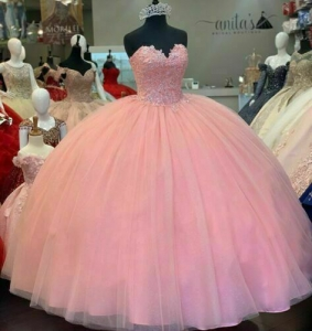 Cheap Pink Lace Beaded Quinceanera Dress Sweetheart Prom Dress for Girl 15