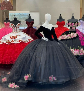 Black Long Sleeves Velvet Quinceanera Dress Embroidery Appliques