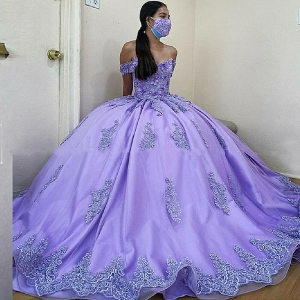 Custom Made Off Shoulder Lace Applique Flower Quinceanera Dress with Train