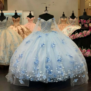 Light Blue Long 3D Flowers Appliqued Quinceanera Dress with Cape