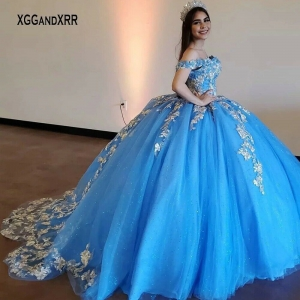 Sparkling Princess Blue Corset Puffy Off Shoulder Quinceanera Dress with Train
