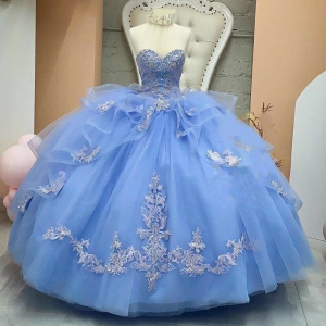 Discount Sky Blue Beaded Sweetheart Quinceanera Dress Appliqued Sweet 15