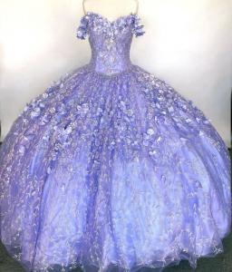 Glitter Tulle 3D Flowers Lilac Quinceanera Dress Appliqued Off Shoulder Sweet 16 Dress
