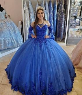 Princess Royal Blue Sequined Applique Quinceanera Dress Detachable Sleeves
