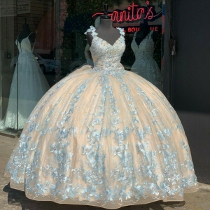Champagne Quinceanera Dress with Bow Lace Applique Sweet 16 Dress Wide Strap