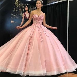 Cheap Simple Sweetheart Pink Quinceanera Dress Flower Formal Princess Sweet 15