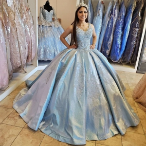 Satin Beaded Vintage Lace Baby Blue Quinceanera Dress V-neck with Train
