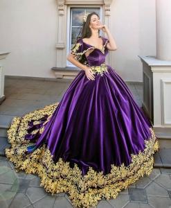 Purple Velvet V Neck Quinceanera Dress Gold Lace Applique Prom Gown