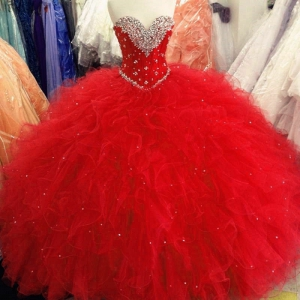 New Sweetheart Beaded Crystals Quinceanera Dress Tulle Ruffles