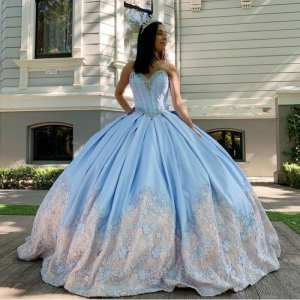 Sky Blue Two Tone Quinceanera Dress Lace Applique Sweetheart Beaded Sweet 16