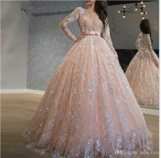 Beautiful Sequin Lace Blush Long Sleeve Quinceanera Dress with Belt