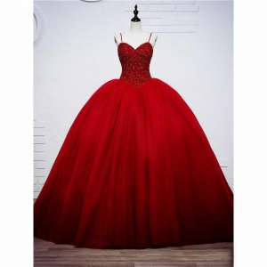 Beautiful Red Formal Custom Tulle Skirt Quinceanera Dress with Train