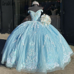 Light Blue Lace Applique Beaded Bling Organza Quinceanera Dress Off Shoulder Sweet 16