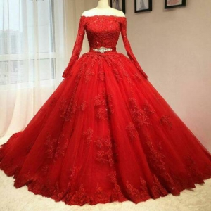 Red Long Sleeve Lace Wedding Dress Beaded Belt Tulle Quinceanera 16 Sweet Dress