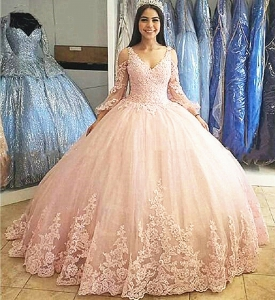 Cheap Light Pink Lace Applique V-Neck Lace Long Sleeve Quinceanera Dress with Train