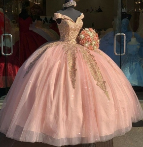 Sweet 16 Pink Quinceanera Dress Off Shoulder Gold Lace Prom Gowns V-Neck