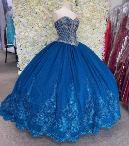 Beaded Corset Royal Blue Quinceanera Dress Sparkly Lace Flowers