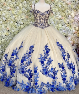 Beaded Champane Tulle Quinceanera Dress with Royal Blue 3D Floral Lace
