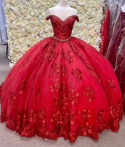 Wine Red Two Piece Lace Floral Quinceanera Dress with Short Train