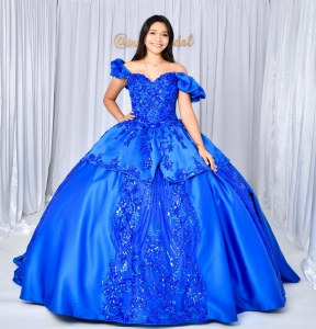 Royal Blue Sequin Satin Cap Sleeves Quineanera Dress with Train