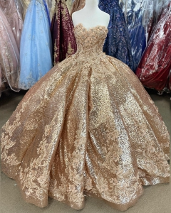 Elegant Sparkly All Sequin Golden Quinceanera Dress with Floral Appliques