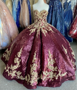 Unique Maroon Sequin Puffy Quinceanera Dress Gold Lace Appliques